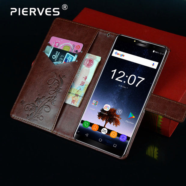 Pierves Luxury Card Slot Flip PU Leather Wallet Cover Phone Case For Oukitel K6