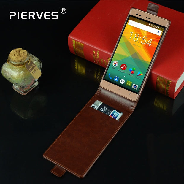 Pierves Luxury Card Slot Flip Cover PU Leather Case For Prestigio Grace R5 Lte PSP5552
