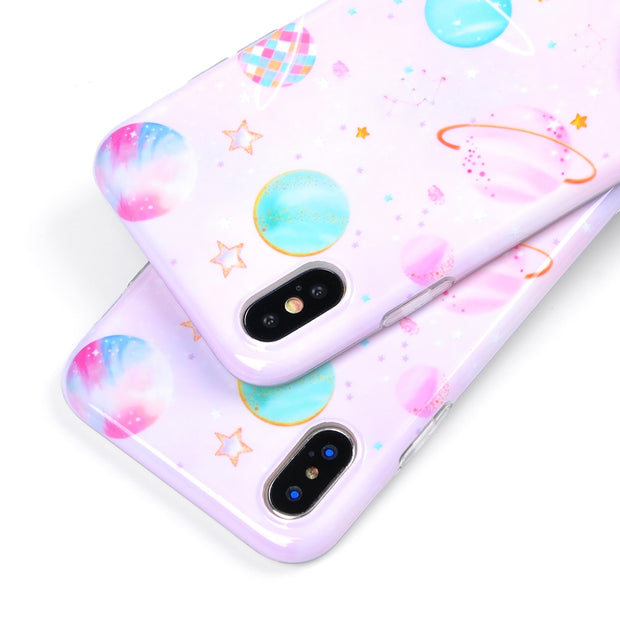 Pink Pattern Cartoon Planet Star Phone Case For IPhone 6 6S 7 8 Plus IMD Soft Cute Protective Phone Back Cover Fundas Bag Coque