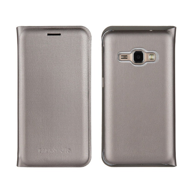 Plain Leather Case Flip Wallet Case With Card Slot For Samsung Galaxy J1 2016 J120