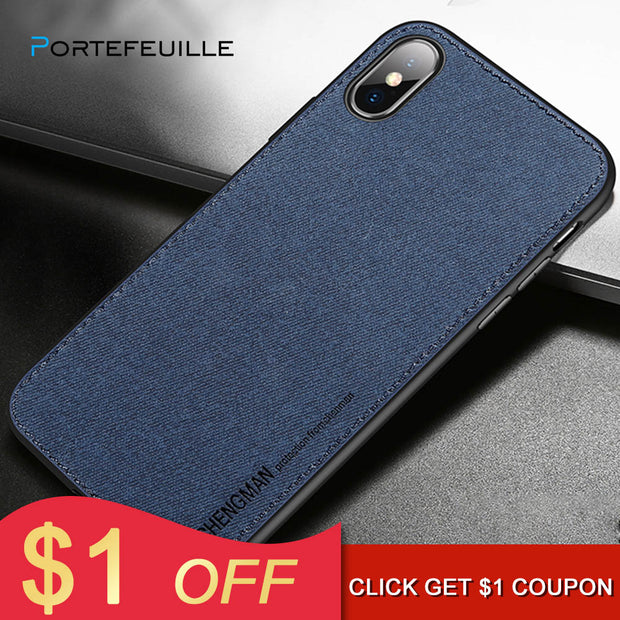 e41cf5cd09 Portefeuille New Fabric Ultra-thin Canvas Silicon Phone Case For Iphone 7 8  6 6s