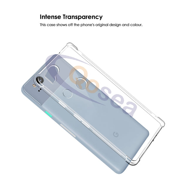 Qosea For Google Pixel 2 Case Transparent Slim Soft Silicone Ultra Clear TPU Skin For Google Pixel 2 Airbag Protective Cover
