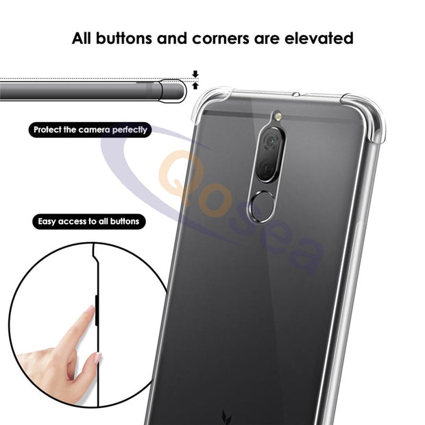 Qosea For Huawei Mate 10 Lite Case Transparent Slim Soft Silicone Clear TPU Skin For Huawei Mate 10 Lite Airbag Protective Cover
