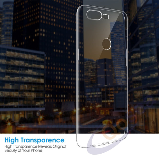 Qosea For Oneplus 5T Case Luxury Shockproof Ultra Clear Transparent Slim Silicone Soft TPU For Oneplus 5T Phone Protective Cover