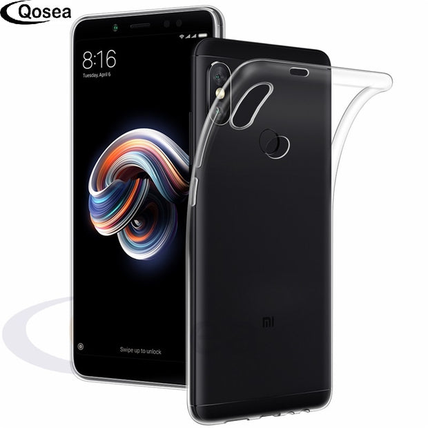 Qosea For Xiaomi Redmi Note 5 Case Transparent Slim Silicone Soft TPU For Xiaomi Redmi Note 5 Pro Protective Clear Back Cover