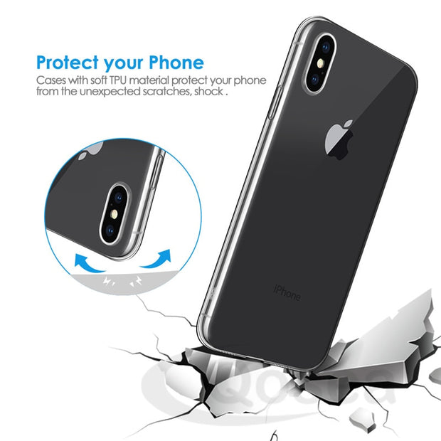 Qosea For IPhone XS MAX XR Case Transparent Slim Soft Silicone TPU Skin For For Apple IPhone XS 8 Airbag Phone Protective Cover