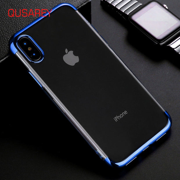 Qusarey Ultrathin Phone Cases Three Stops Electroplate Printed Transparant Phone Cases For Iphone6 6s 7 8 Plus X Simple Luxury