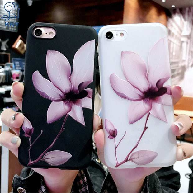 new product dce1c cfbcd Relief Lotus Flower Phone Cases For IPhone 7 Cases 6 6s 7 8 Plus Silicone  Floral Soft Cover For IPhone X XR XS Max TPU Case