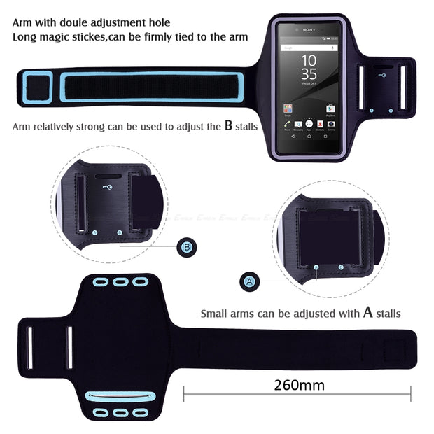 Running Gym Sport Phone Holder Bag Cover For Sony Xperia L1 L2 M4 M5 R1 Plus Z Z1 Z2 Z3 Z4 Z5 Compact Premium Arm Band Case