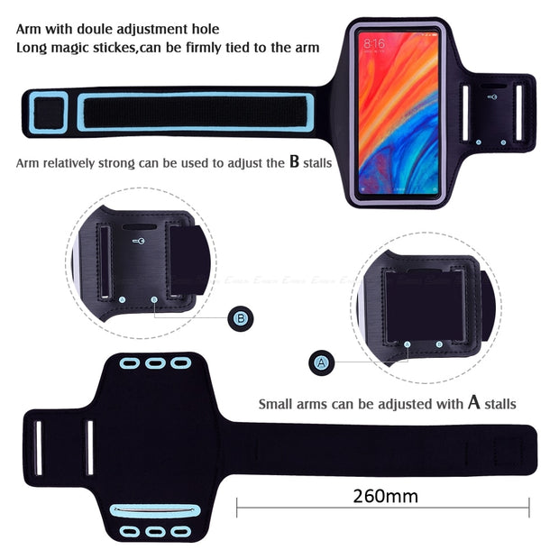 Running Gym Sport Phone Holder Bag Cover For XiaoMi Mi Note Max Mix 2 2S 3 6X 6 8 Pro SE Explorer A1 A2 Lite Play Arm Band Case