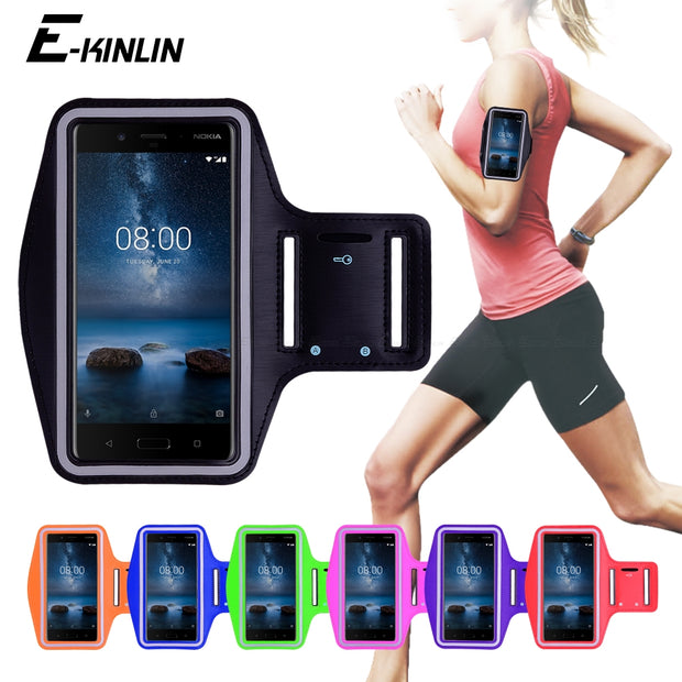 Running Sport Phone Holder Bag Cover For Nokia 1 2 3 5 6 7 Plus 8 Sirocco 2.1 3.1 5.1 6.1 7.1 8.1 X5 X6 X7 2018 Arm Band Case