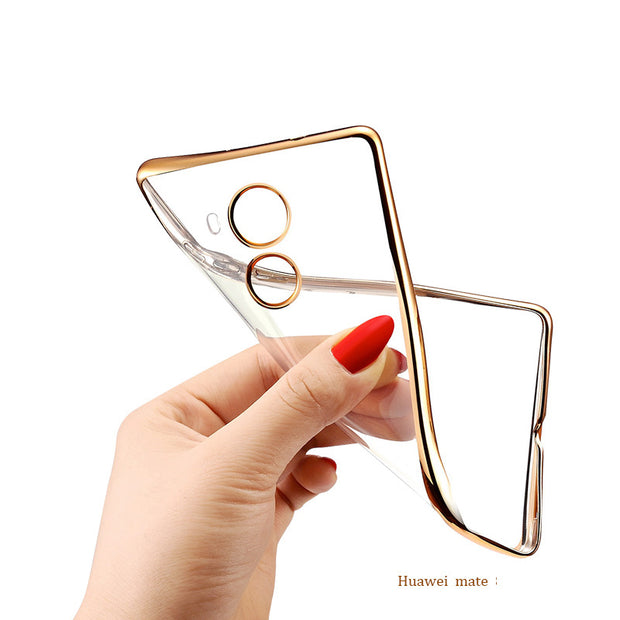 S-GUARD Luxury Ultra Thin Clear Crystal Rubber Plating Electroplating TPU Soft Mobile Phone Case For Huawei Mate7