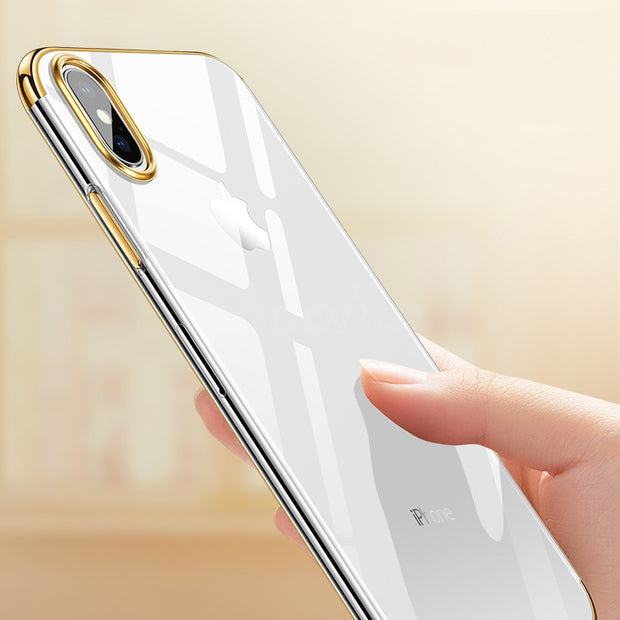 SHUOHU Ultra Thin Original Phone Cases For Iphone 7 6 6S Plus Case Luxury Soft TPU Transparent Silicone Case For Iphone X 8 Plus