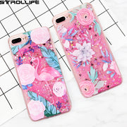 STROLLIFE Colorful Flowers Flamingos Phone Case For IPhone 6 6s 7Plus Dynamic Liquid Pink Quicksand Soft Frame Cover For IPhone7