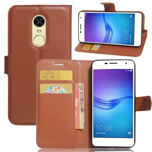 SUNBIN Leather Mobile Phone Case For Huawei Honor Enjoy6 Luxury Vertical Flip Phone Accessories Card Cover For Honor 6X(2016)