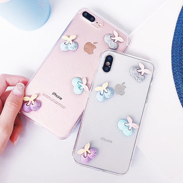 SUYACS Color 3D Cherry Glitter Powder Phone Case For IPhone 6 6S 7 8 Plus X Transparent Soft TPU Back Cover Coque Capa YC4220