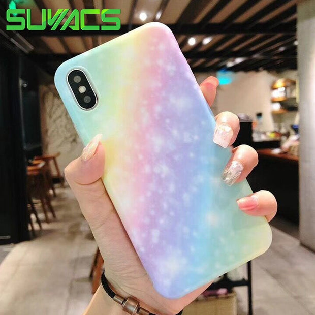 SUYACS Gradient Rainbow Beautiful Phone Case For IPhone 6 6S 7 8 Plus X IMD Soft Shell Back Cover Coque Bags Capa Cases YC4222