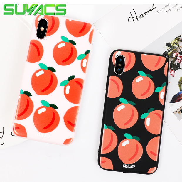 SUYACS Phone Cases For IPhone 6 6S 7 8 Plus X Colors Fruits Pattern Teenage Style Soft TPU Graphic Phone Cases Coque Fundas Bag