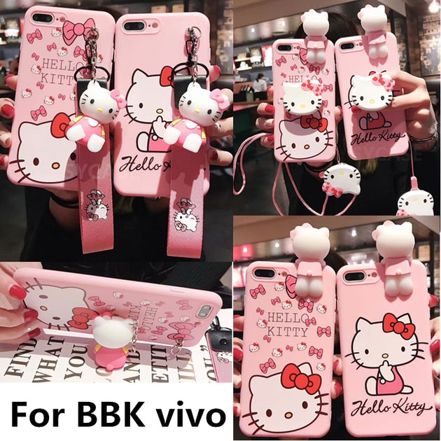 SYCASE Cute Cartoon Pink Kitty Soft Shell For BBK Vivo Y55 Y66 Y67 Y71 Y75  Y79 Y83 Y85 X21 Case Doll Bracket Lanyard Drop Cover