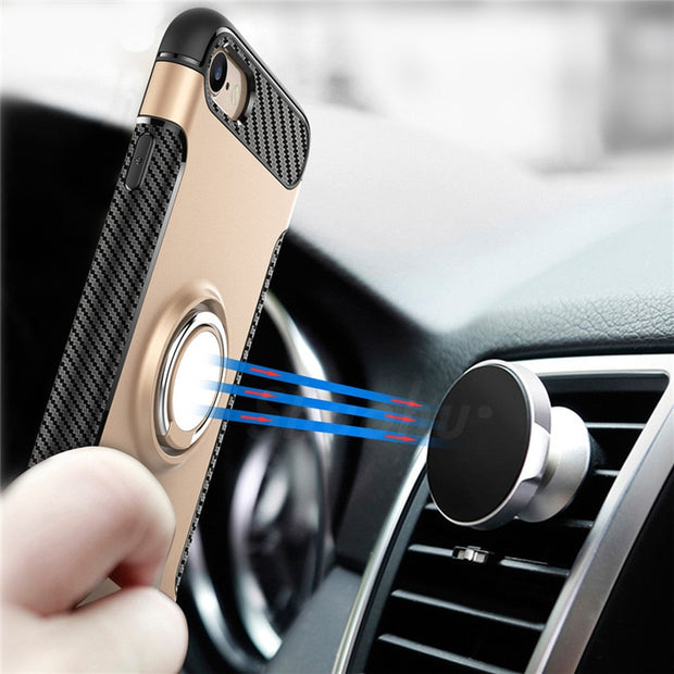 Shuohu Luxury Phone Cases For Iphone X Case Cover Stand Ring Holder Shockproof Silicone For Iphone 6 6S 7 8 Plus Case Protection