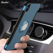 Shuohu Ring Holder Phone Cases For Iphone X 8 7 6 Case Luxury Silicone Shock Proof Kickstand For Iphone 6 6S 7 8 Plus Case Cover