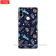 Silicon Cover Phone Case For Xiaomi Redmi S2 Y2 6 5 2 3 3s Pro PLUS Redmi Note 4 4X 4A 5A6A Space Love Sun And Moon Star Drawing