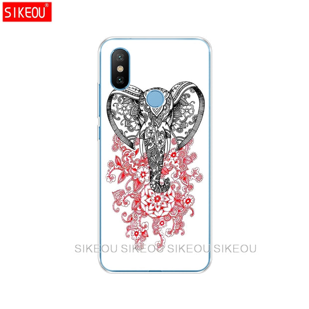 Silicone Cover Case For Xiaomi Mi 8 8SE A1 A2 Lite 5 5S 5X 6 Mi5 MI6 NOTE 3 MAX Mix 2 2S Totem Elephant Aztec Indian Flower