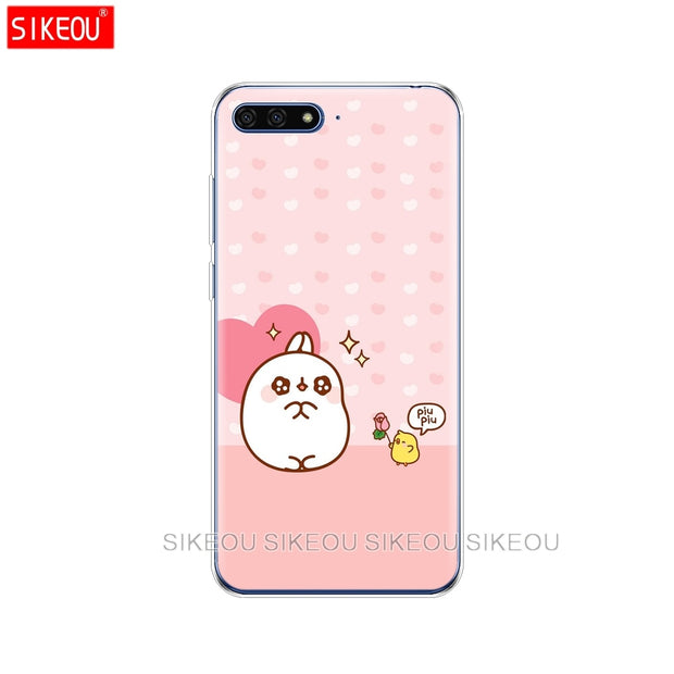 Silicone Cover Phone Case For Huawei Honor 7A PRO 7C Y5 Y6 Y7 Y9 2017 2018 Prime Molang Rabbits Cutest Kawaii Box Potatoes