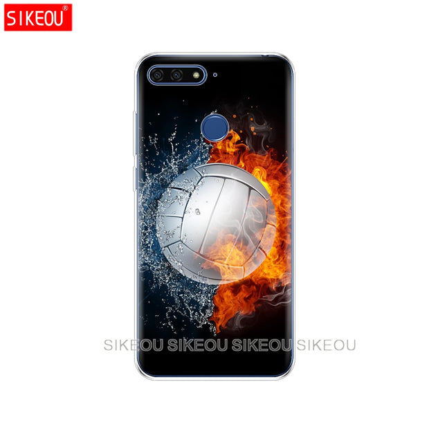 Silicone Cover Phone Case For Huawei Honor 7A PRO 7C Y5 Y6 Y7 Y9 2017 2018 Prime Fire Volleyball Sport Water