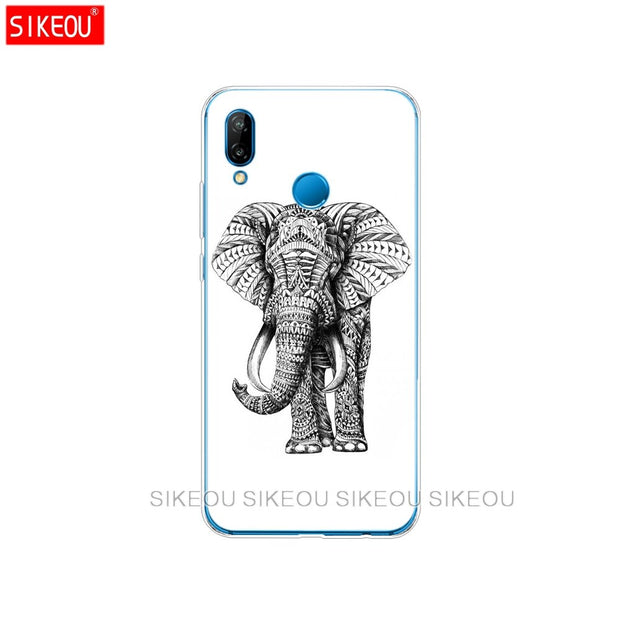 Silicone Cover Phone Case For Huawei P20 P7 P8 P9 P10 Lite Plus Pro 2017 P Smart Totem Elephant Aztec Indian Flower
