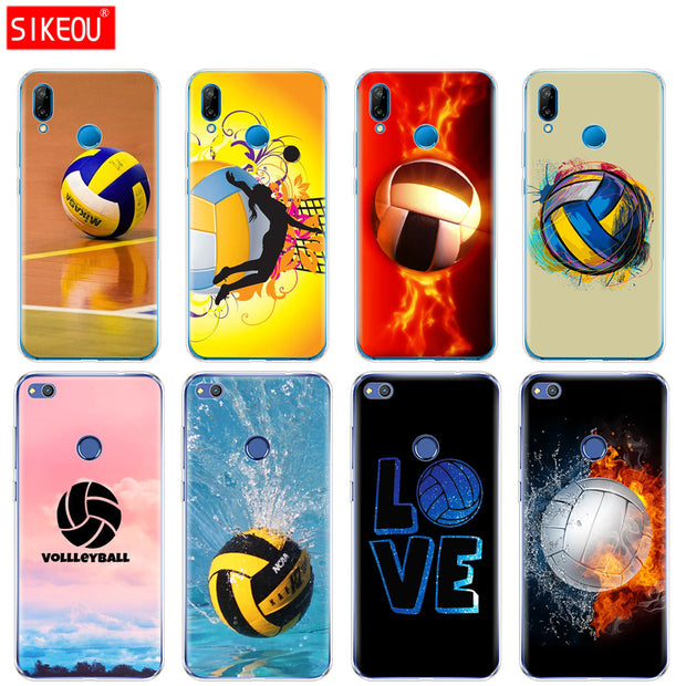 Silicone Cover Phone Case For Huawei P20 P7 P8 P9 P10 Lite Plus Pro 2017 P Smart Fire Volleyball Sport Water