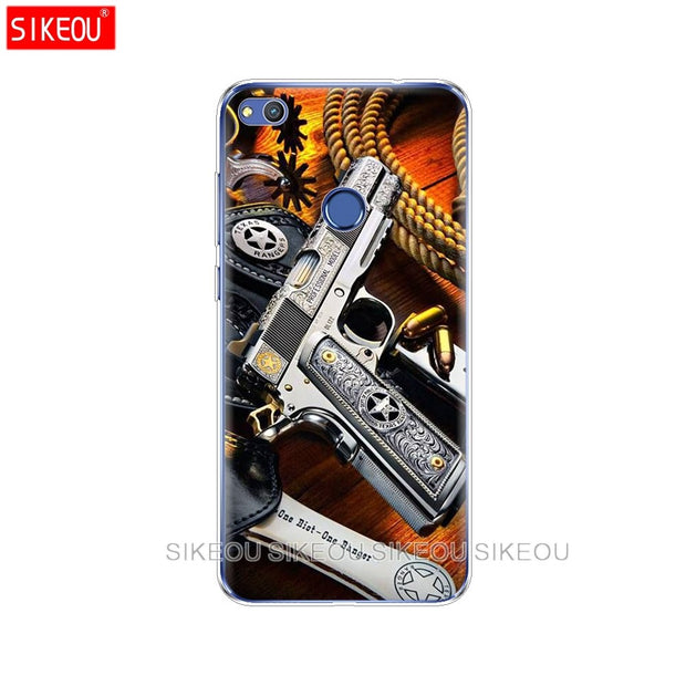 Silicone Cover Phone Case For Huawei P20 P7 P8 P9 P10 Lite Plus Pro 2017 P Smart Weapons Rifle Guns Sniper Pistol Bullet