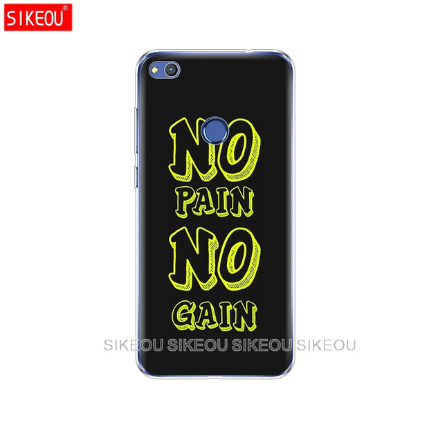 Silicone Cover Phone Case For Huawei P20 P7 P8 P9 P10 Lite Plus Pro 2017 P Smart No Pain No Gain Gym And Fitness Quote