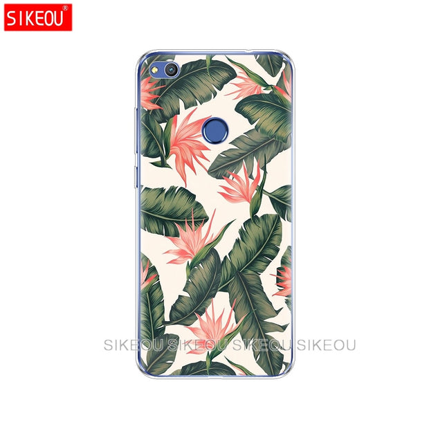 Silicone Cover Phone Case For Huawei P20 P7 P8 P9 P10 Lite Plus Pro 2017 P Smart 2018 Tropical Green Leaves Floral