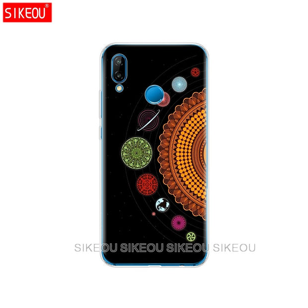 Silicone Cover Phone Case For Huawei P20 P7 P8 P9 P10 Lite Plus Pro 2017 P Smart 2018 Space Love Moon Astronaut Cat
