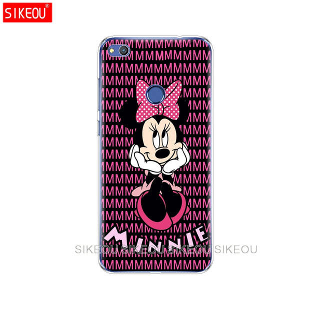 Silicone Cover Phone Case For Huawei P20 P7 P8 P9 P10 Lite Plus Pro 2017 P Smart 2018 Minnie Mouse
