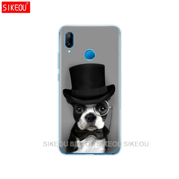 Silicone Cover Phone Case For Huawei P20 P7 P8 P9 P10 Lite Plus Pro 2017 P Smart 2018 Cute Dog Cat