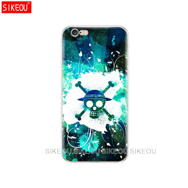 Silicone Cover Phone Case For Iphone 6 X 8 7 6s 5 5s SE Plus 10 Case One Piece Pirates Logo Anime Cartoon