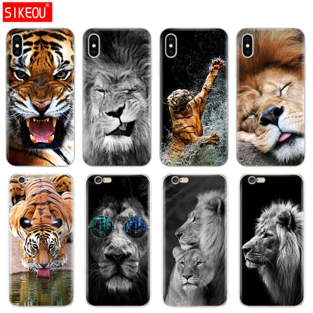 Silicone Cover Phone Case For Iphone 6 X 8 7 6s 5 5s SE Plus 10 Case Lion Tiger Fashion Lovely Animal