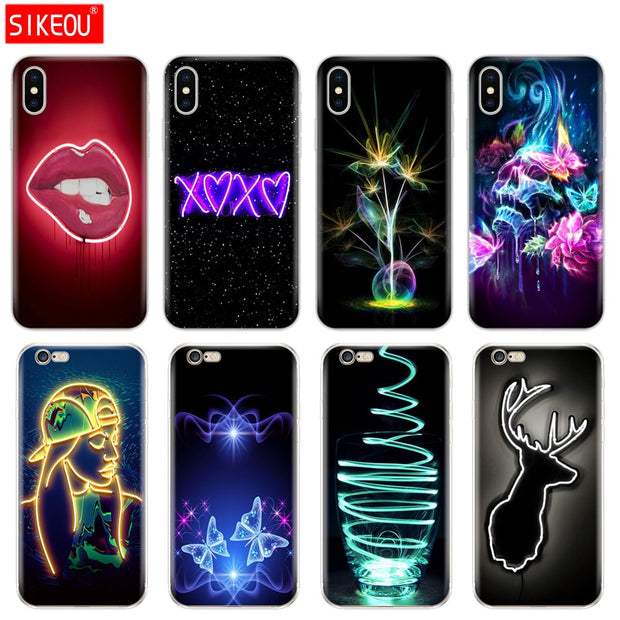 Silicone Cover Phone Case For Iphone 6 X 8 7 6s 5 5s SE Plus 10 Case Neon Pattern Print