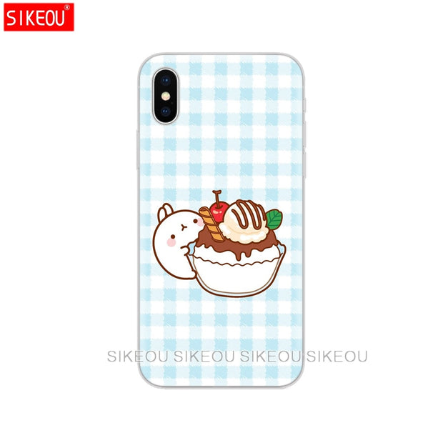 Silicone Cover Phone Case For Iphone 6 X 8 7 6s 5 5s SE Plus 10 Case Molang Rabbits Cutest Kawaii Box Potatoes