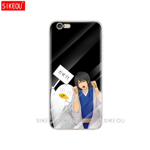 Silicone Cover Phone Case For Iphone 6 X 8 7 6s 5 5s SE Plus 10 Case Japanese Anime Girl Touch Glass Kawaii