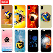 Silicone Cover Phone Case For Iphone 6 X 8 7 6s 5 5s SE Plus 10 Case Fire Volleyball Sport Water