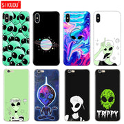 Silicone Cover Phone Case For Iphone 6 X 8 7 6s 5 5s SE Plus 10 Case Trippy Alien Emoji