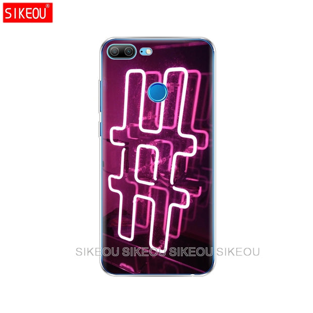 Silicone Cover Phone Case For Huawei Honor 10 V10 3c 4C 5c 5x 4A 6A 6C Pro 6X 7X 6 7 8 9 LITE Neon Pattern Print