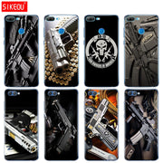Silicone Cover Phone Case For Huawei Honor 10 V10 3c 4C 5c 5x 4A 6A 6C Pro 6X 7X 6 7 8 9 LITE Weapons Rifle Guns Pistol Bullet
