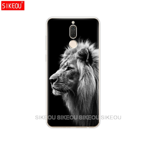 Silicone Cover Phone Case For Huawei Mate 7 8 9 10 Pro LITE Lion Tiger Fashion Lovely Animal