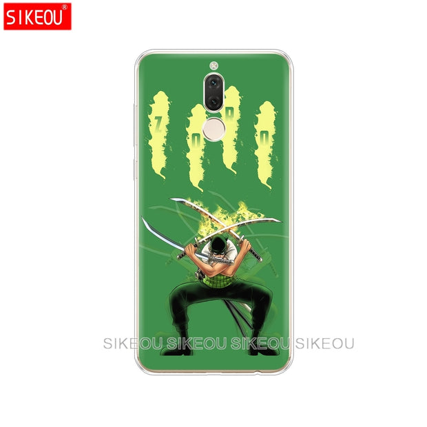 Silicone Cover Phone Case For Huawei Mate 7 8 9 10 Pro LITE One Piece Roronoa Zoro Anime