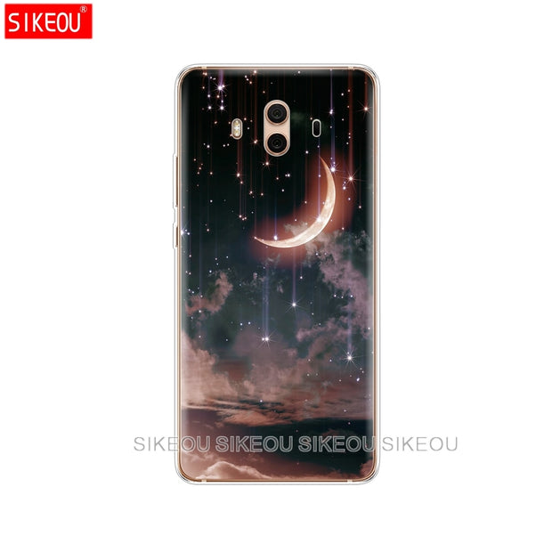 Silicone Cover Phone Case For Huawei Mate 7 8 9 10 Pro LITE Space Love Sun And Moon Star Drawing