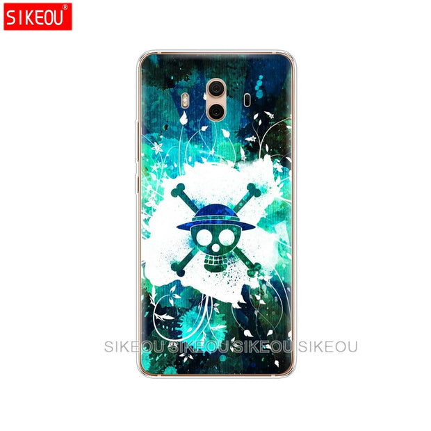 Silicone Cover Phone Case For Huawei Mate 7 8 9 10 Pro LITE One Piece Pirates Logo Anime Cartoon
